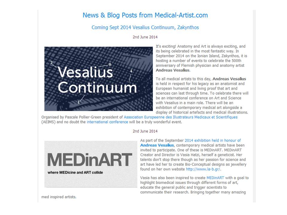 Vesalius Continuum and MEDinART in the blog of Medical-Artist.com