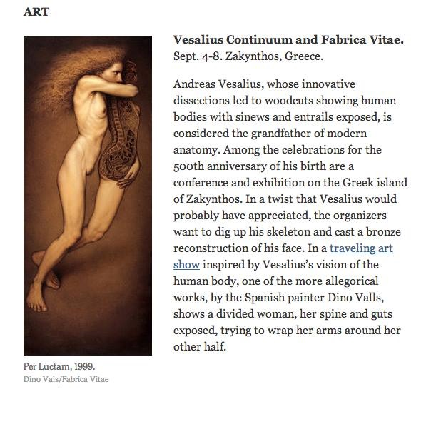 Fabrica Vitae exhibition and Vesalius Continuum are mentioned at New York Times (Aug. 25, 2014)