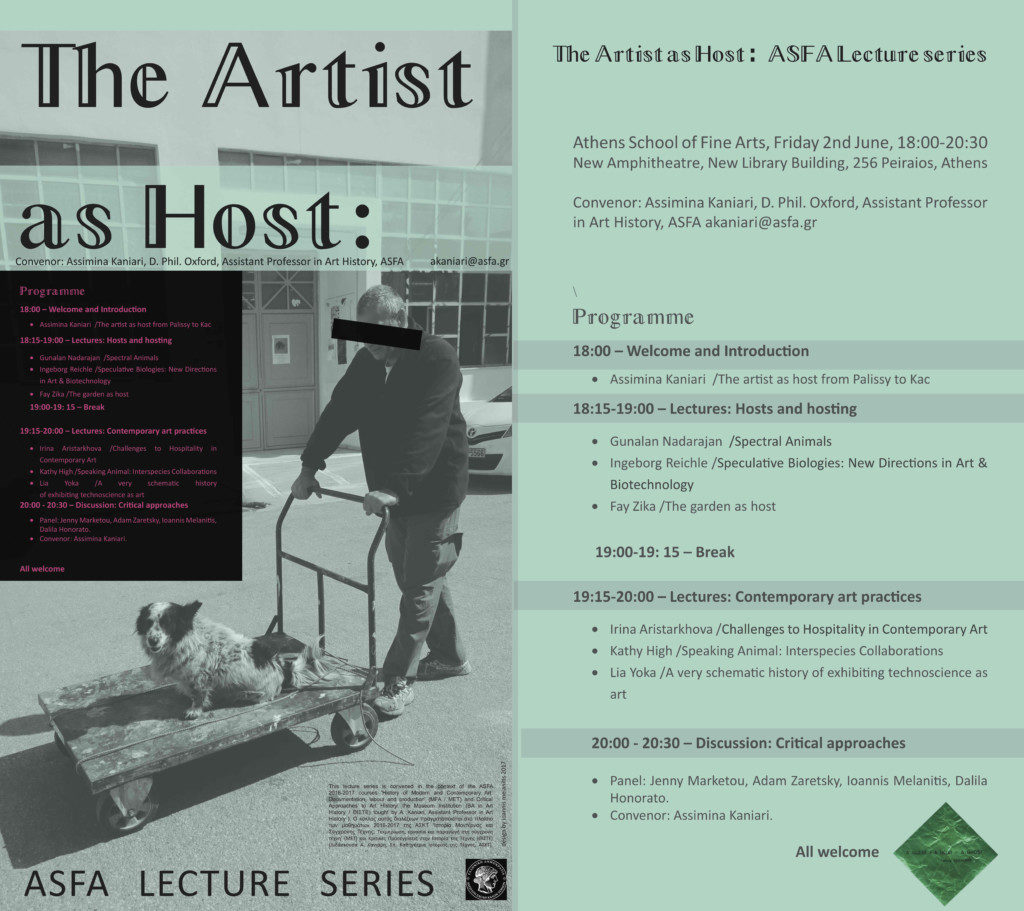"""The Artist as Host"" / Athens School of Fine Arts (ASFA), Greece / Lecture series"