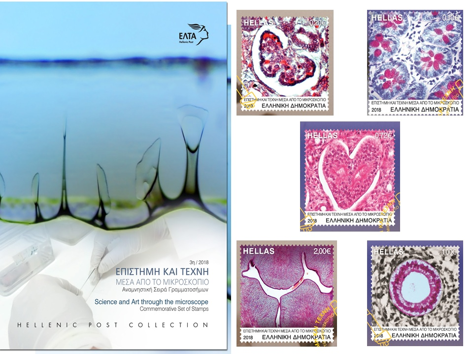 """Commemorative set of stamps """"Art through the Microscope"""", Hellenic Post Collection_Prof. Maria Lambropoulou"""